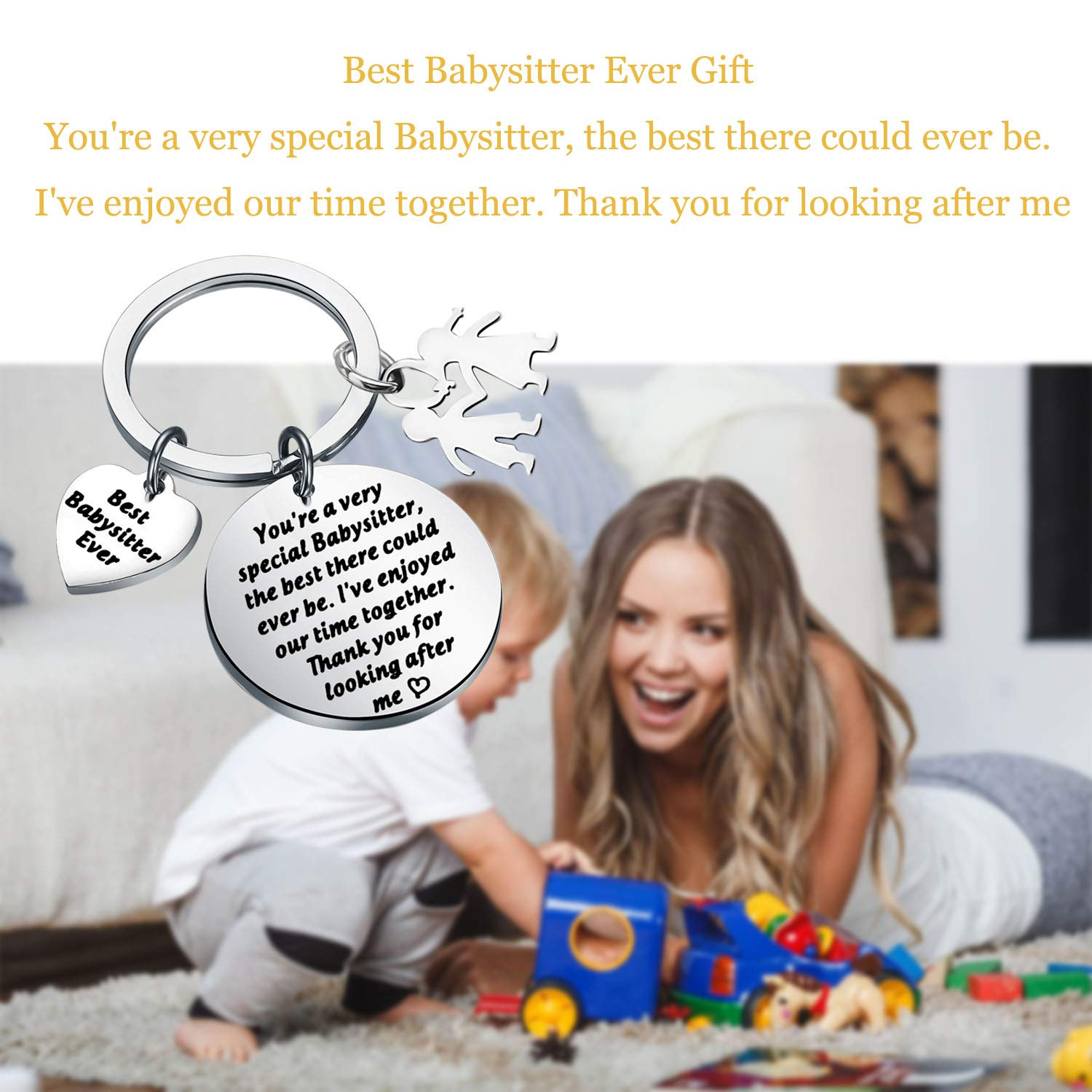 Lywjyb Birdgot Babysitter Gift Nanny Gift Babysitter Appreciation Gift Babysitter Gift Best Babysitter Ever Gift Thank You for Looking After Me Keychain Thank You Gift for Nanny