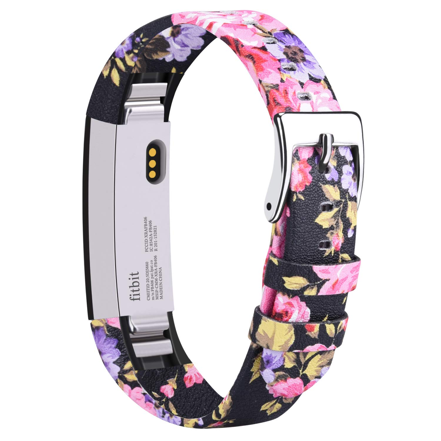 Vancle Leather Bands Compatible with Fitbit Alta/Fitbit Alta HR for Women Men, Adjustable Replacement Accessories Strap with Buckle for Fitbit Alta and Fitbit Alta HR (.Floral Pink)