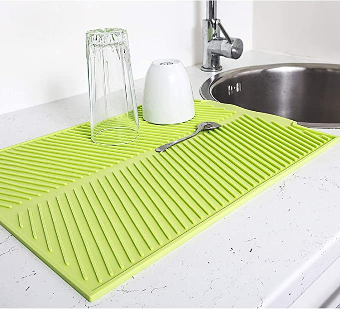 Du/šial Silicone Dishes Drying Mat with Sink Heat Resistant Washable Countertop Mat for Kitchen Table