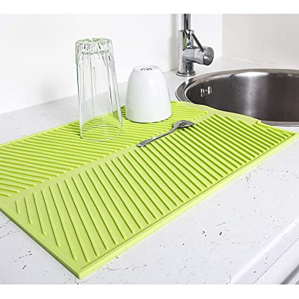 Multifunction Silicone Table Placemat Vegetables Dishes Sink Drying Rack Draining Board Mat Big Grids Kitchen Insulation Pad Kitchen Sink Accessories