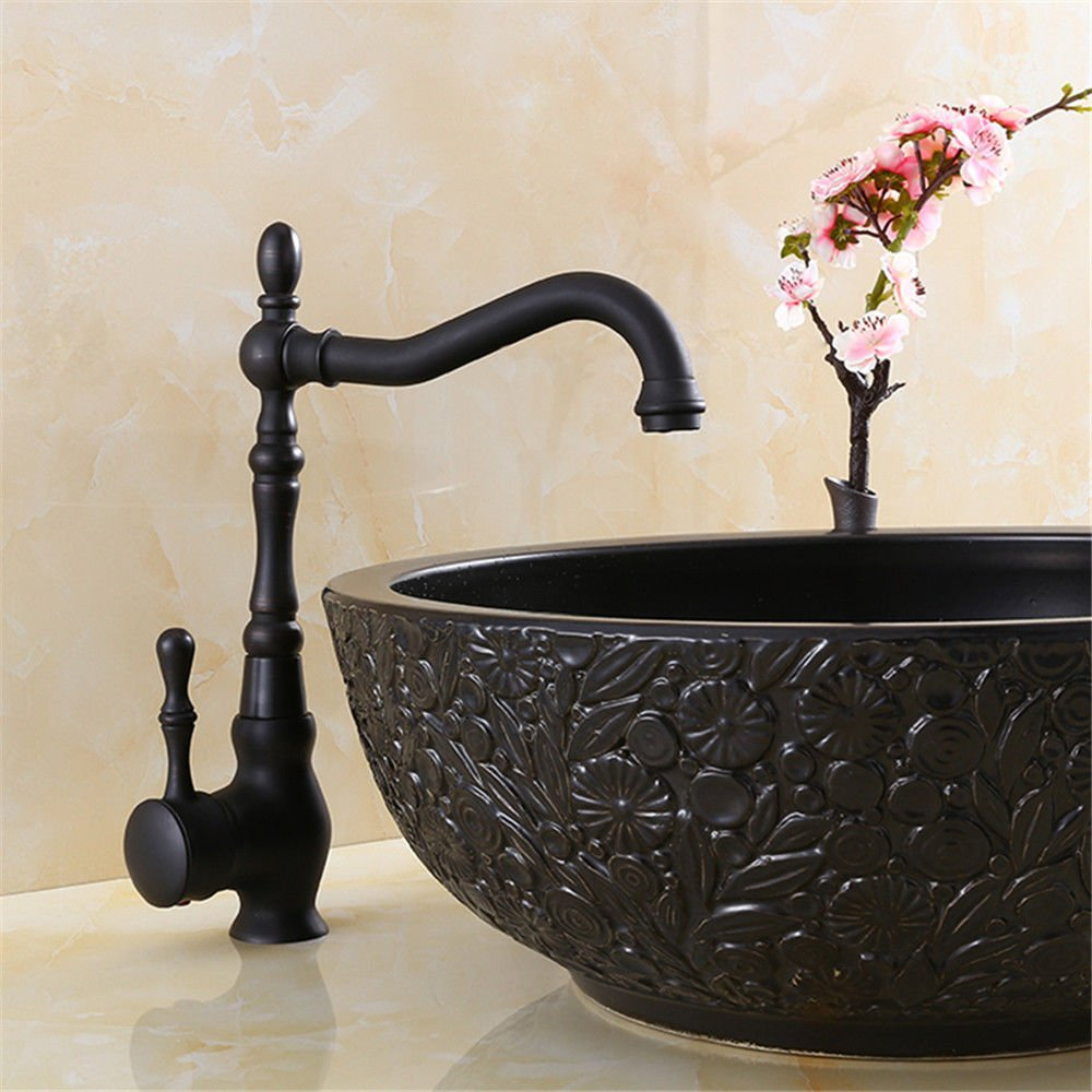 Good quality Antique Basin Sink Mixer Tap Copper black kitchen redatable faucet sink antique above counter basin hot and cold water faucet