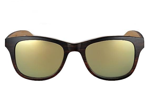 amoloma Holz Sonnenbrille Birnbaum mit matt frozen verspiegelten Gläsern wayfarer Style (Champagner gold matt verspiegelte Gläser) 3wjbhA