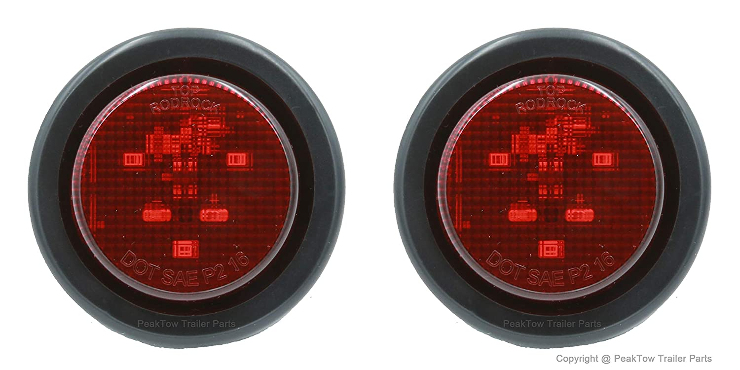 PEAKTOW PTL0434 Trailer Truck Steel Light Boxes with 6 Inches LED Red Oval Tail Light /& 2 Inches LED Red Round Side Lights Pack of 2