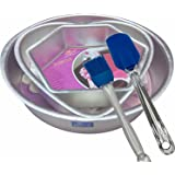 Rolex Aluminium Cake Mould Combo Set with Free Silicon Spatula & Brush, 3 Pieces