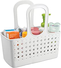 iDesign Orbz Plastic Bathroom Shower Tote, Small Divided College Dorm Caddy for Shampoo, Conditioner, Soap, Cosmetics, Beauty
