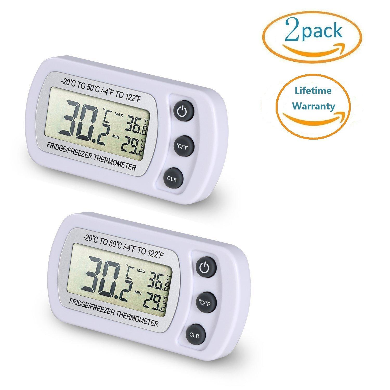 NEXGADGET Termómetro de Frigorífico Mini Digital Preciso LCD Refrigerador Monitor de Temperatura Máximo y Mínimo NGBTher-02-W