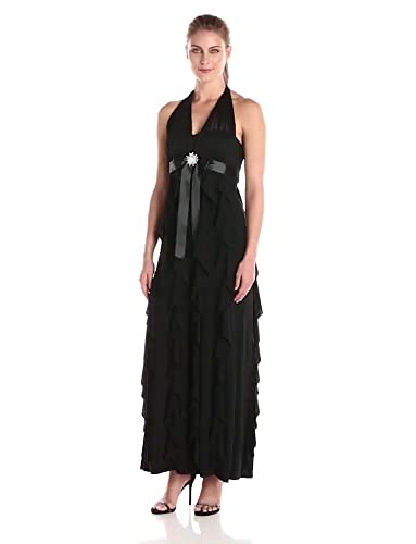 29718bd8549 Amazon.com  Betsy   Adam Women s Halter Ruffle Gown with Waist  Embellishment and Tie