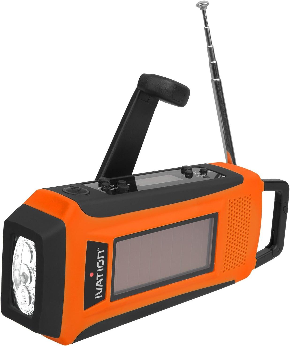 Ivation Radio de emergencia digital solar y de dinamo a prueba de ...