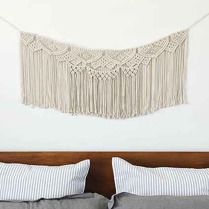 Amazon Com Macrame Wall Hanging Woven Banner Large Boho Shabby