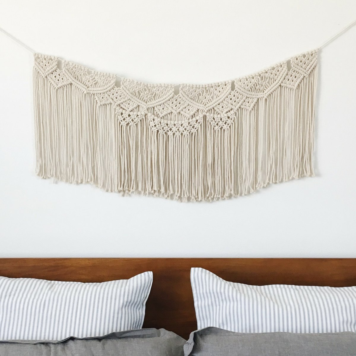 Macrame Wall Hanging Woven Banner - Large Boho Shabby Chic Bohemian Home Decor, Garland, or Tapestry - Apartment Dorm Living Room Bedroom Kitchen Baby Nursery Art - Backdrop Decoration - 15'' W x 35'' L