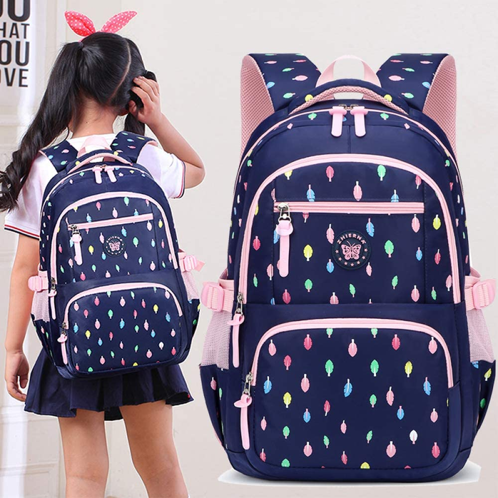 BAAFG Childrens School Bag Primary School Girl 3-5-4-6 Fifth Grade Shoulder Bag 6-12 Year Old Girl Backpack,Black-OneSize