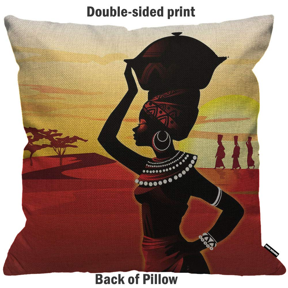 HGOD DESIGNS Cushion Cover African Women Walking On The Desert Sunset Red Yellow Black Throw Pillow Cover Home Decorative for Men//Women//Boys//Girls living room Bedroom Sofa Chair 18X18 Inch Pillowcase