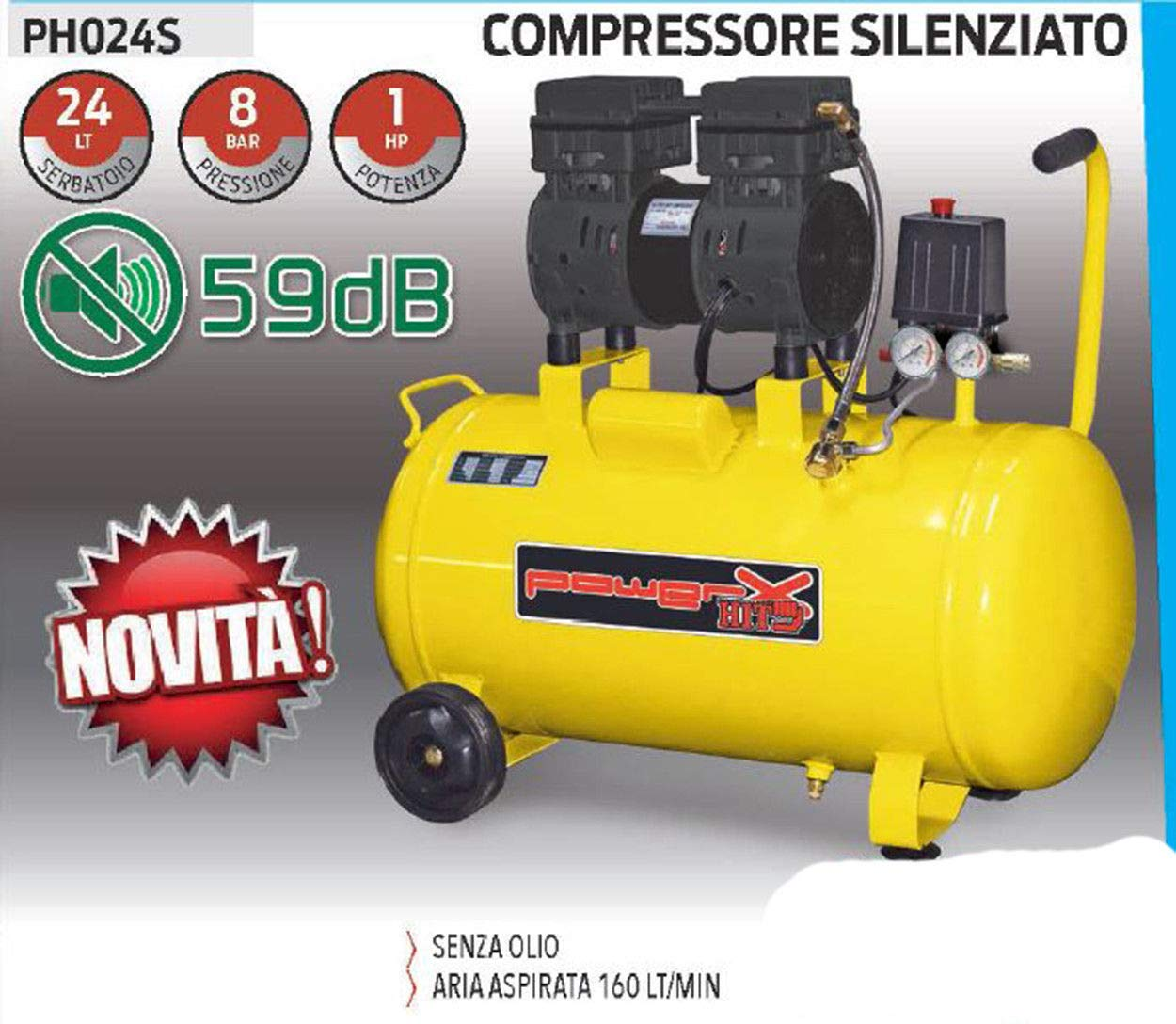 COMPRESSORE 24 25 LT SILENZIATO A SECCO ITALY 8 BAR 1 HP 2 ITALY MANOMETRI 160L//M PISTONI TEFLON SENZA OLIO