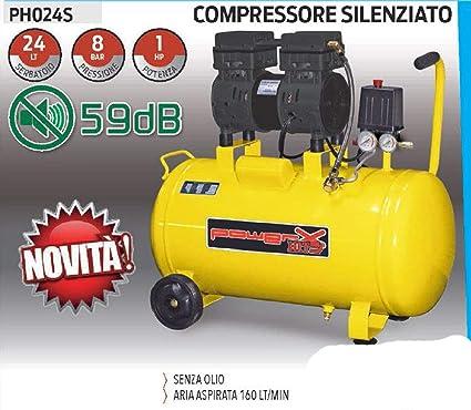 Compresor 24 25 LT silenciado en seco Italy 8 Bar 1,5 HP Italy 2