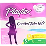 Playtex Gentle Glide Tampons with Triple Layer Protection, Regular and Super  Multi-Pack, Unscented - 36 Count (Pack of 2)