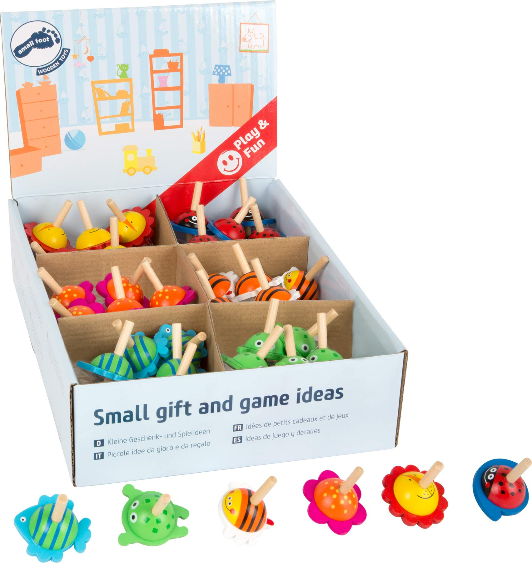 Legler - Colourful Wooden Spinning Top Display