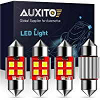 "AUXITO Extremely Bright CANBUS Error Free 4-SMD 3030 Chipset 31mm (1.25"") DE3175 DE3021 Festoon Xenon White LED Bulbs for Map Dome License Plate Lights Lamps (Pack of 4)"