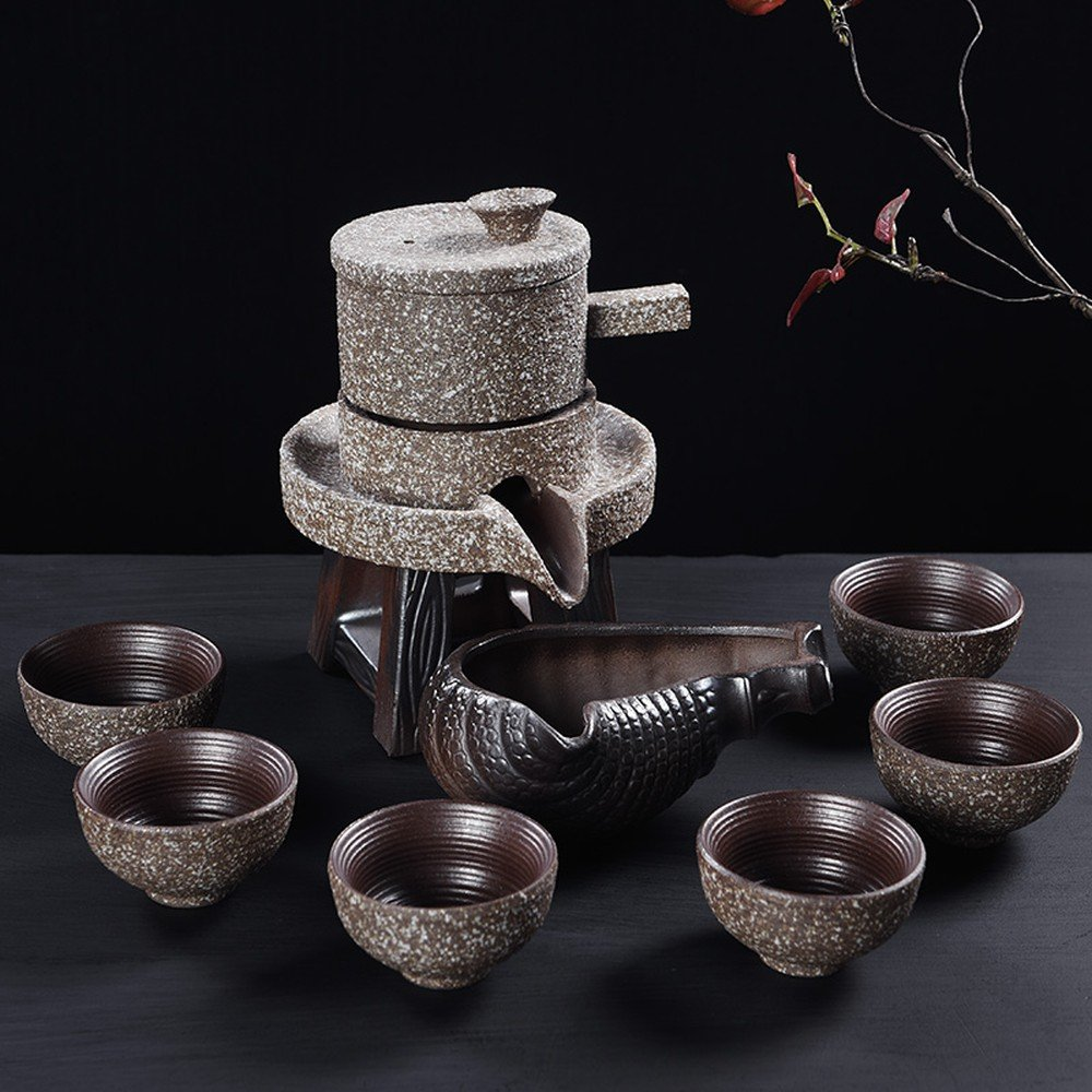 THJ Lazy Stone Mill Semi-Automatic Kung Fu Tea Set Simple Ceramic Home Tea Creative Time to Run the Entire Package,C