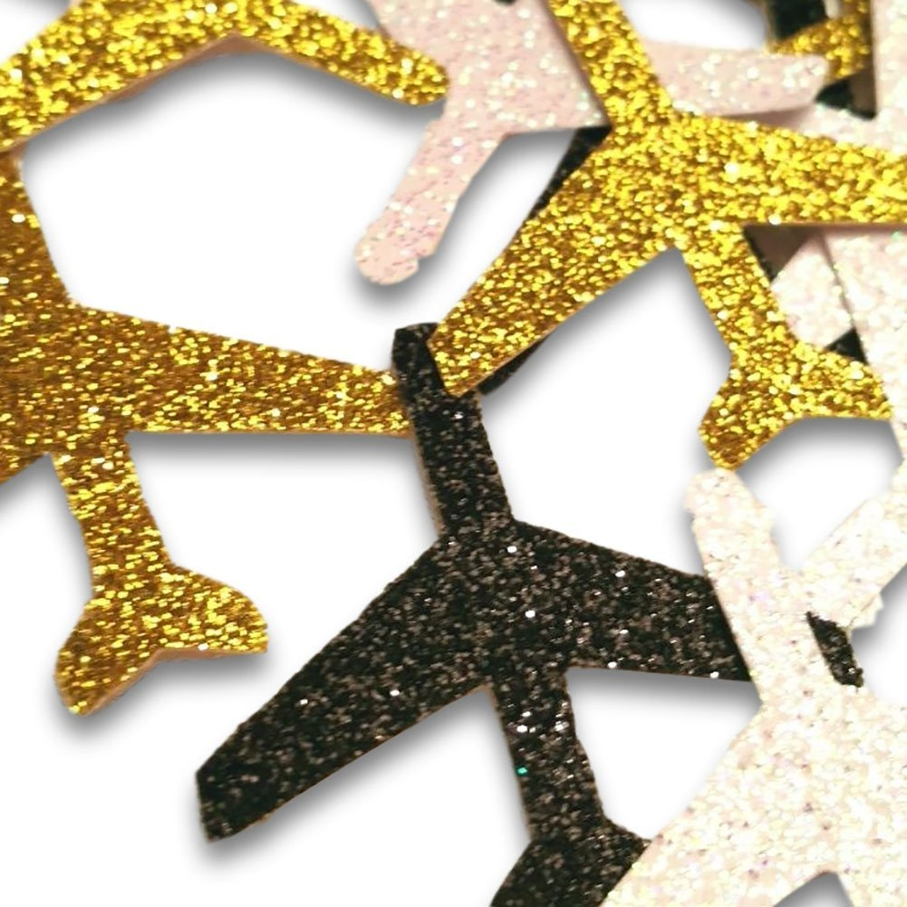 """Custom & Fancy {1.25'' Inch} Approx 100 Pieces of Large """"Table"""" Party Confetti Made of Premium Card Stock w/ Pilot's Airplane Jet Sparkling Glitter Paper Plane Cutout Design [Gold, Black & Silver]"""
