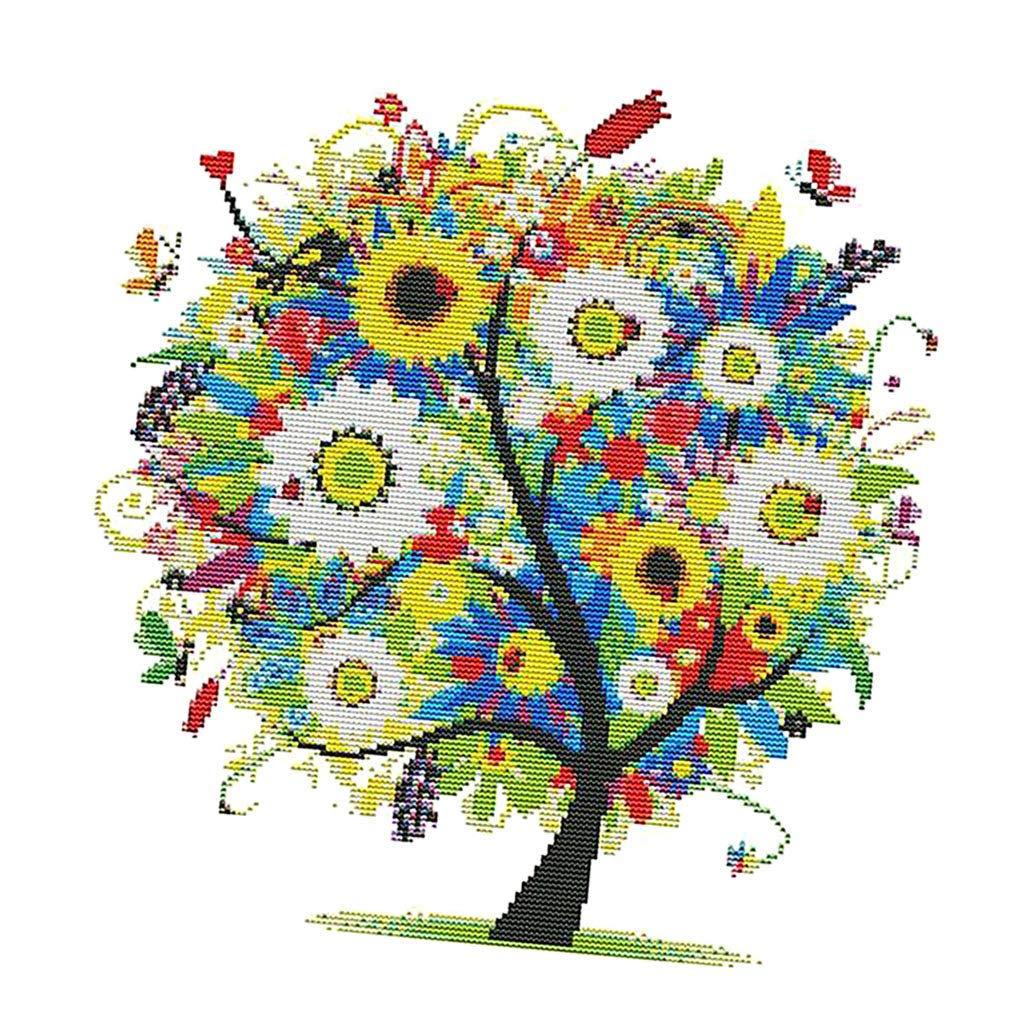 Flameer Cross Stitch Stamped Kits Tree of Happy Pattern Embroidery Needlepoint Kit for Beginners 36x36cm 14CT