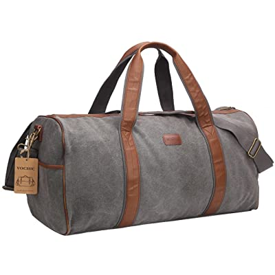 Large Canvas Travel Duffel Bag For Mens Womens Overnight Weekend Bag Khaki