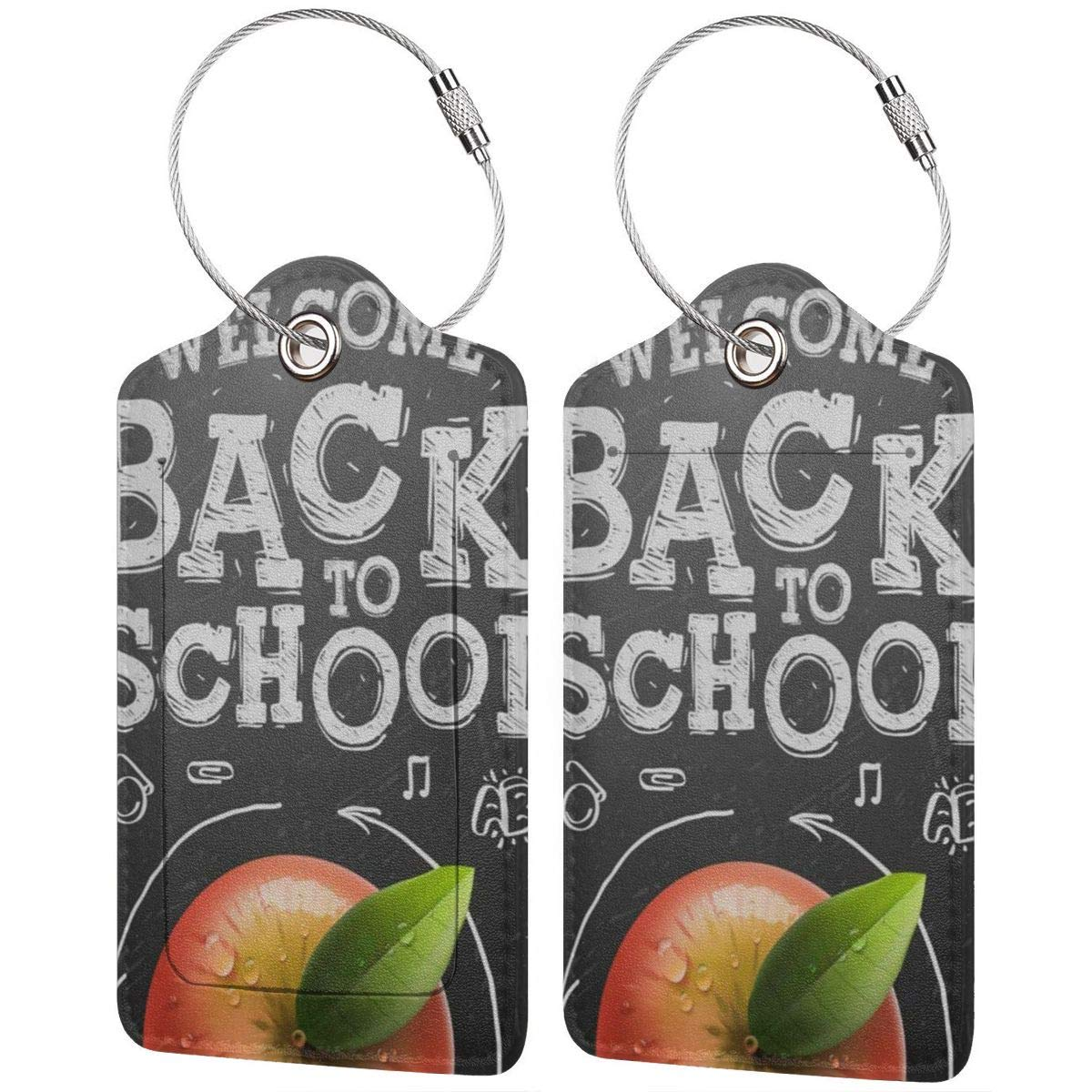 Welcome Back To School Leather Luggage Tags Personalized Suitcase Tag With Adjustable Strap