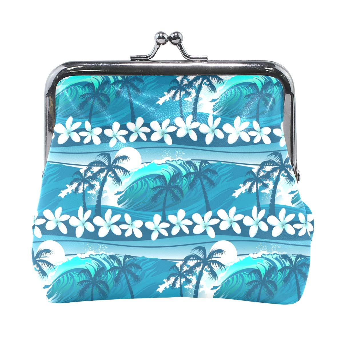 Exotic Seamless Silk Tropical Leaves Fashion Womens Classic Exquisite Vintage Coin Purse