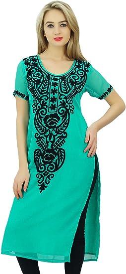 Bimba Women Georgette Designer Embroidered Kurta Kurti Tunic Top Indian Straight