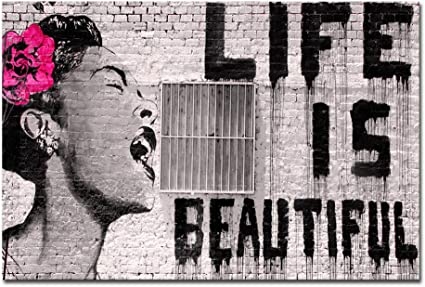 Wieco Art Large Canvas Prints Of Banksy Life Is Beautiful Modern Stretched And Framed Giclee Artwork Grey Love Pictures Paintings On Canvas Wall Art For Bedroom Home Office Decorations Amazon Co Uk Kitchen