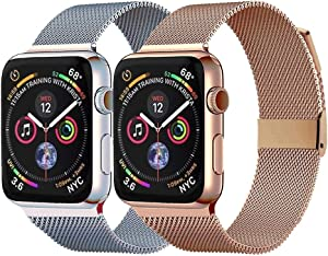 Pigetfy 2 Pack Compatible for Apple Watch Band 40mm 44mm Series 6,Series 5,Series 4,Series 3,Series 2,Series 1,Series SE and Wristband for Iwatch 38mm 42mm (Pink Gold+Silver, 38mm/40mm)