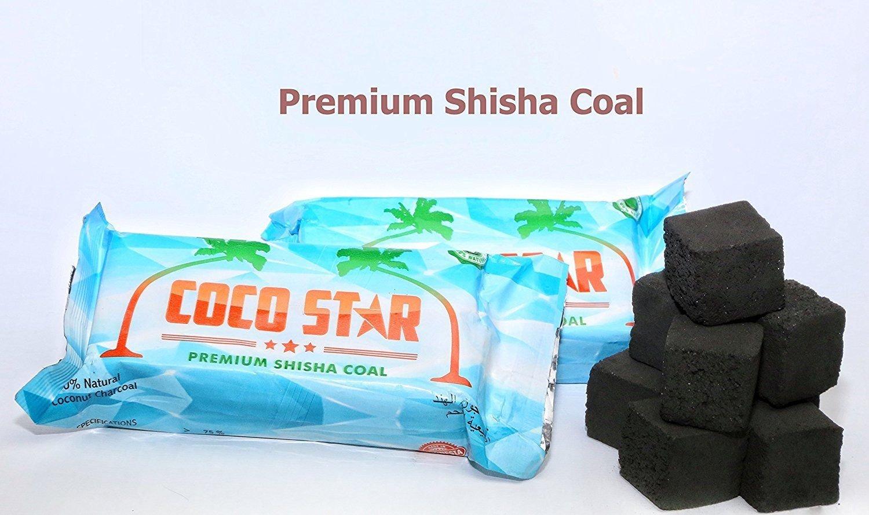 112 Premium Shisha Coal Cubes Hookah Coal Sheesha Coal Cubes BBQ (90 minutes burning time) Coco Star