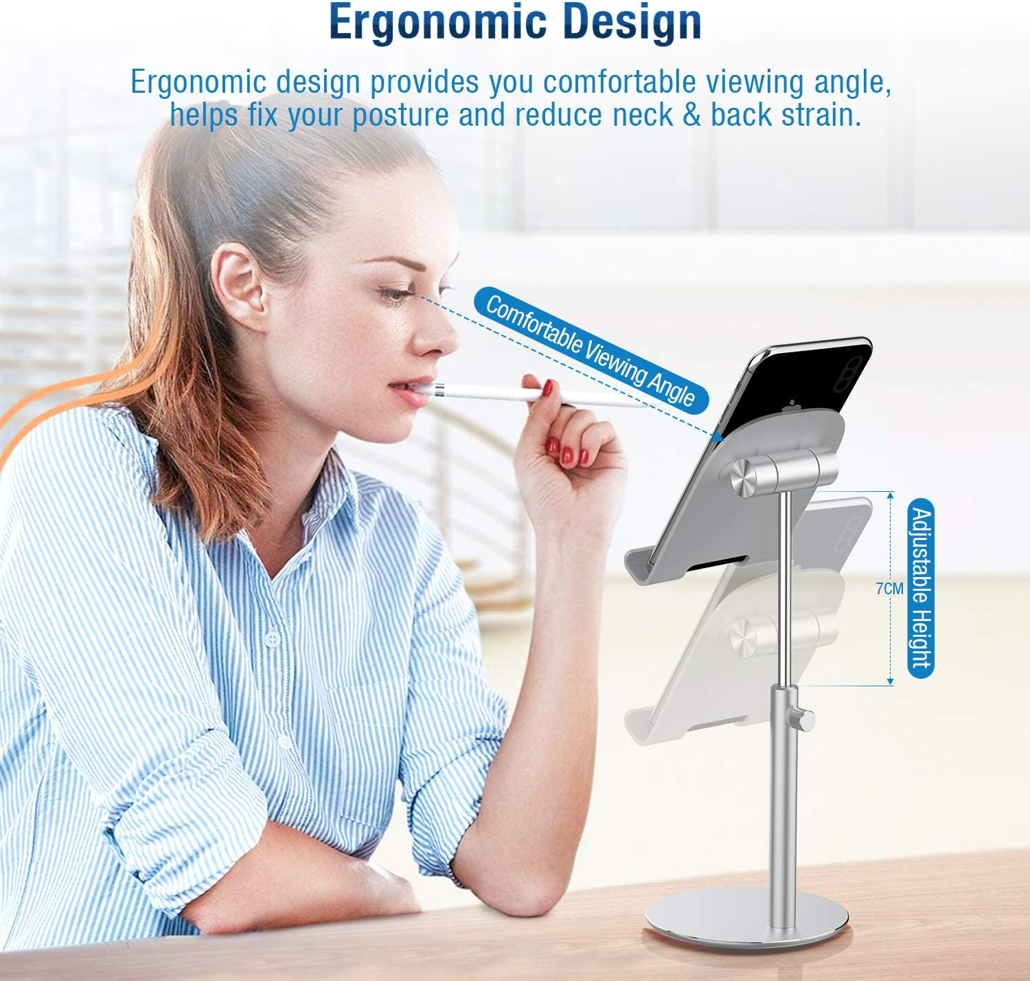 Desktop Cell Phone Stand Cradle Dock for Work Study Strong Stability Compatible with All Mobile Phones,iPad,Kindle,Tablet Angle Height Adjustable LUROON Phone Stand /& Tablet holder Black