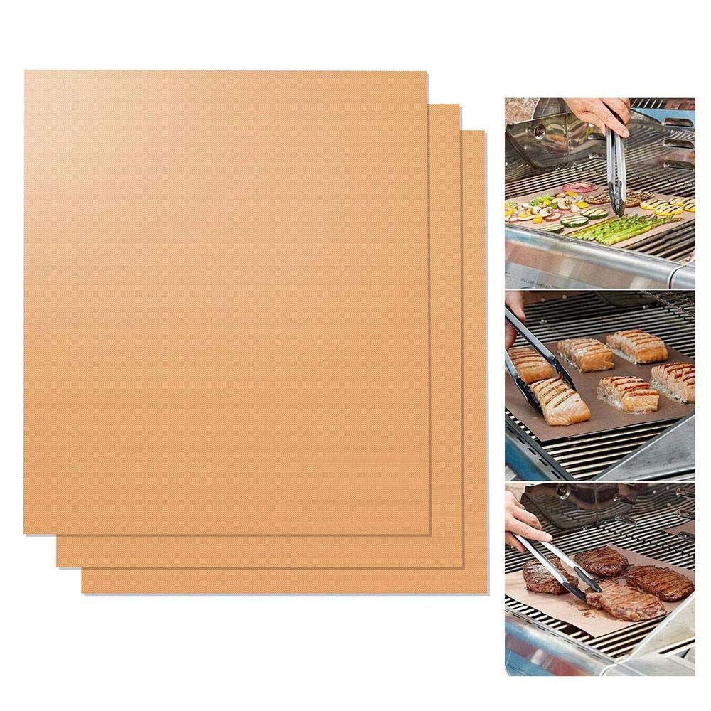 Copper Grilling Mats, Aolvo BBQ Copper Gill and Bake Mat - 100% Non Stick, Reusable, FDA-Approved & Easy to Clean - Healthy Barbecue Gill Sheet - Works on Gas, Charcoal, Electric Grill and More(2 PCS)