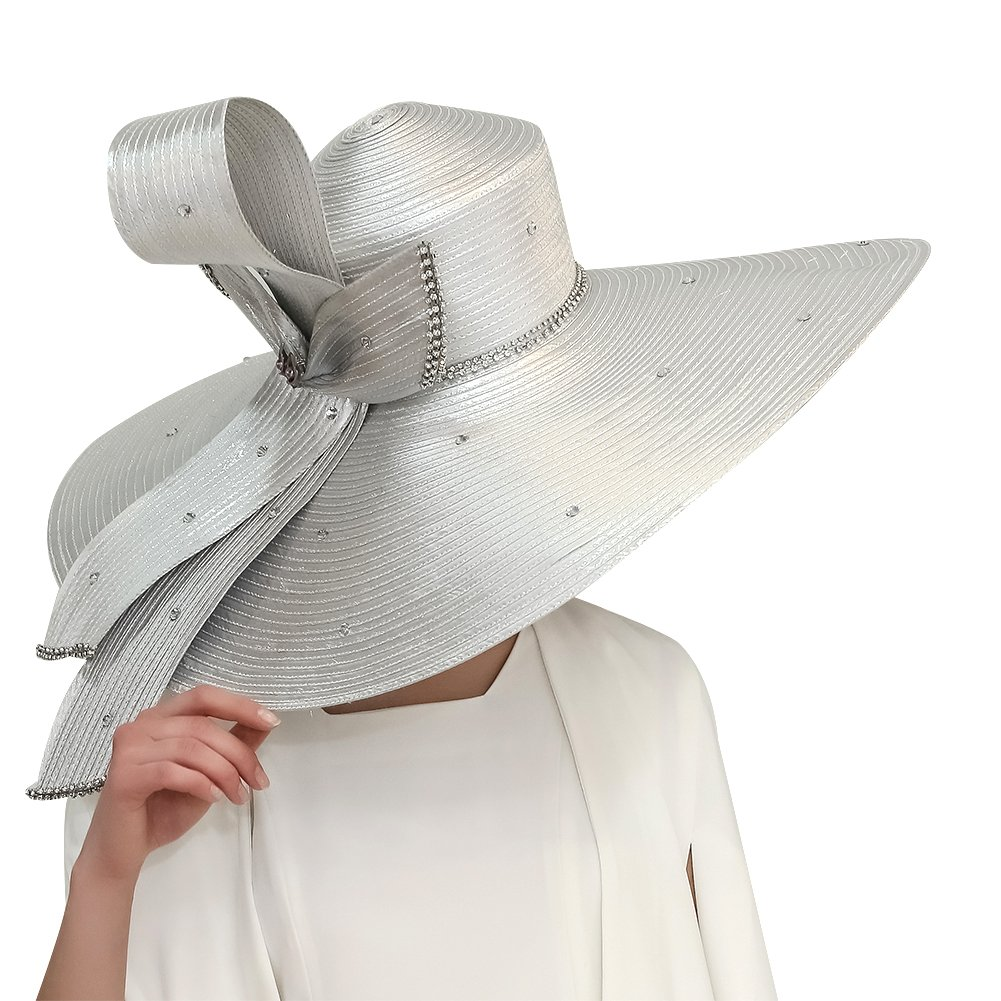 Kueeni Women Hats Hot Red Color Church Hats Lady Party Wear Fedoras Hats (Silver)