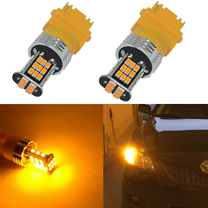 Alla Lighting Super Bright 3156 3157 LED Turn Signal Light Bulbs 2000 Lumens 3156 3457 4157 3157 LED Bulb 3020 30-SMD 3156 3157 LED Lights Bulbs Amber Yellow Blinker Lights Replacement for Cars Trucks