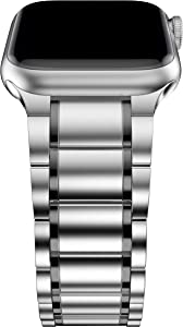 BaiHui Titanium Watch Band Compatible with Apple Watch Band 42mm/44mm,Titanium Alloy Metal Replacement Watch Bands Compatible for Smart Watch Series 6/SE/5/4/3/2 - Silver