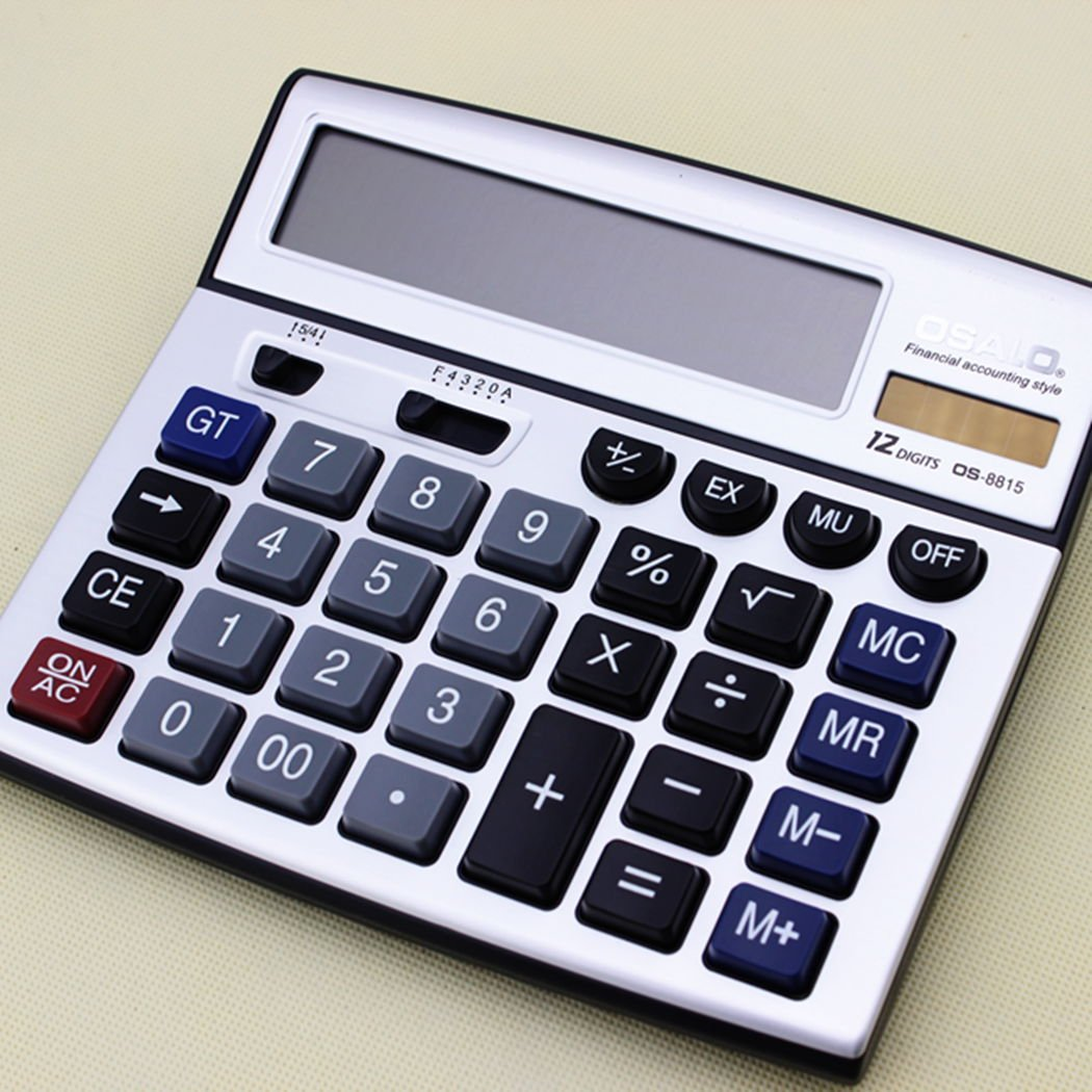 Business Extra Large Display Osalo Os-8815 Electronic Calculator Solar & Battery Power 43195-53395