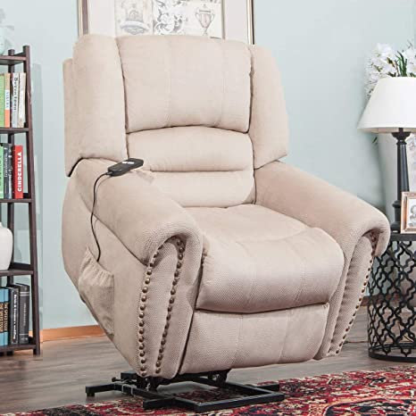 Remarkable Heavy Duty Power Lift Recliner Sofa Chair Extra Large Living Room Chair Fabric With Remote Control Beige Ibusinesslaw Wood Chair Design Ideas Ibusinesslaworg