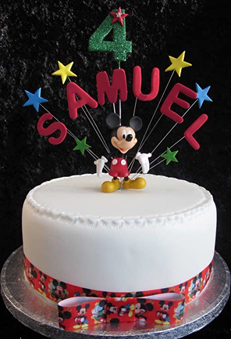Cool Personalised Mickey Mouse Birthday Cake Topper With Figurine Personalised Birthday Cards Bromeletsinfo