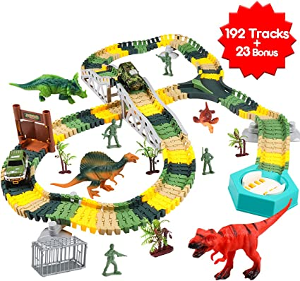 144Pcs Flexible Track Race Car Train Toy Playset Dinosaur Building Game for Kids