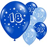 Happy 18th Birthday Banner Silver Blue Teen Male Boys Men Party