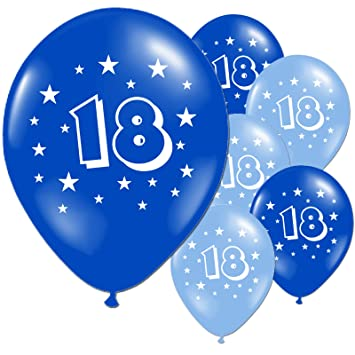20 Light And Dark Blue 18th Birthday Party Balloons