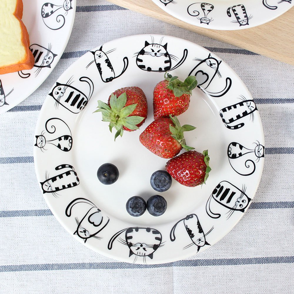 Super Cute Cat Ceramic Plate Dinner Plate Dessert Plate Appetizer Plate Salad Dish Steak Plate Service Plate for Party Kitchen Birthday Wedding Catering Meow Porcelain 8inch(2pcs)