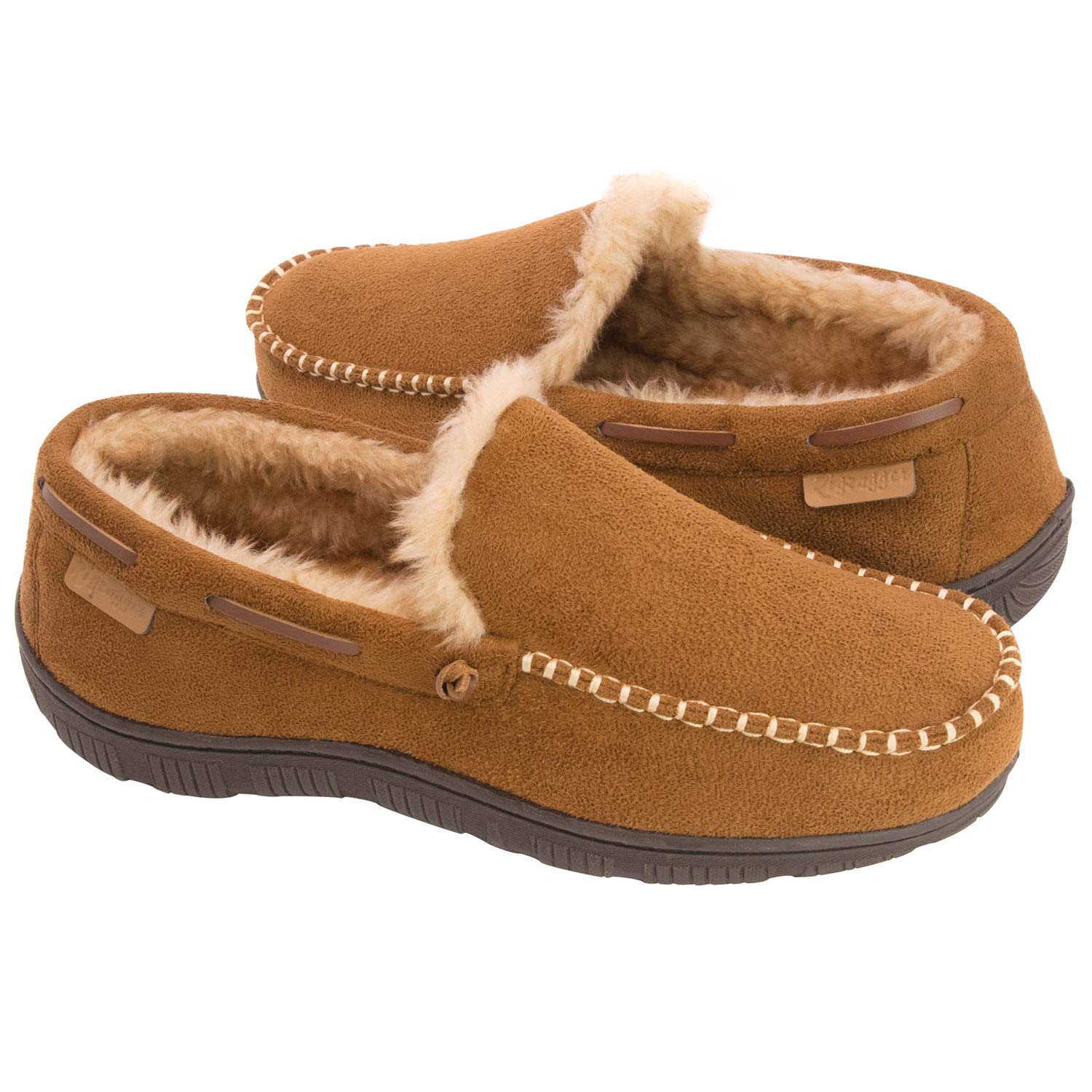 Zigzagger Men's Microsuede Moccasin Slippers w/Indoor Outdoor Nonslip Sole