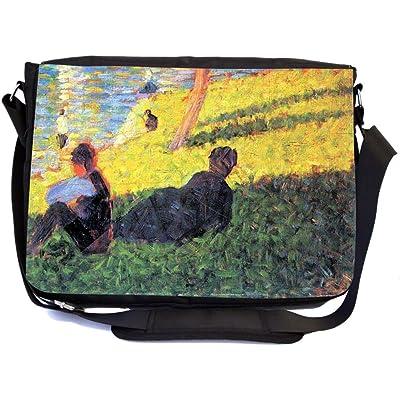 Rikki Knight Georges-Pierre Seurat Art Sunday La Grande, Study 2 Design Multifunctional Messenger Bag - School Bag - Laptop Bag - Includes Matching Compact Mirror