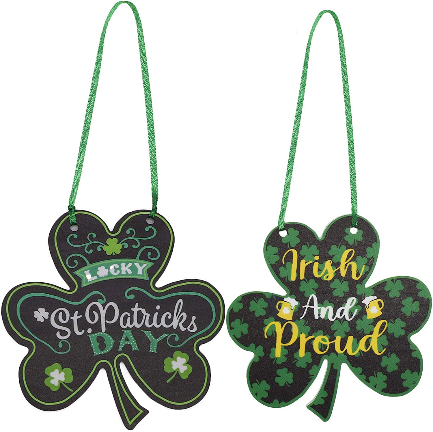 2Pcs St. Patrick's Day Decorations for Front Door, Hanging Shamrock Car Door Wall Sign, Irish Festival Decor Ornaments for St Patrick's Day Festival Tree Baubles Shelf Table Decorations (Green)