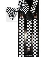 Unisex Fashion Matching Bow Tie and Suspender Set - Black & White Checkerboard Design