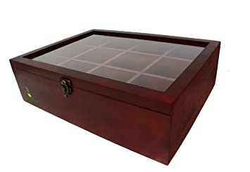 Bamboo Tea Storage Box (12 Compartment) Cherry Wood Organizer With  Adjustable Dividers |