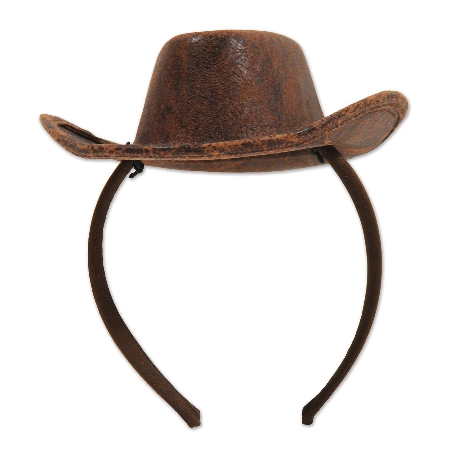 Pack of 12 Distressed Brown Faux Leather Western Cowboy Party Hats by Party Central