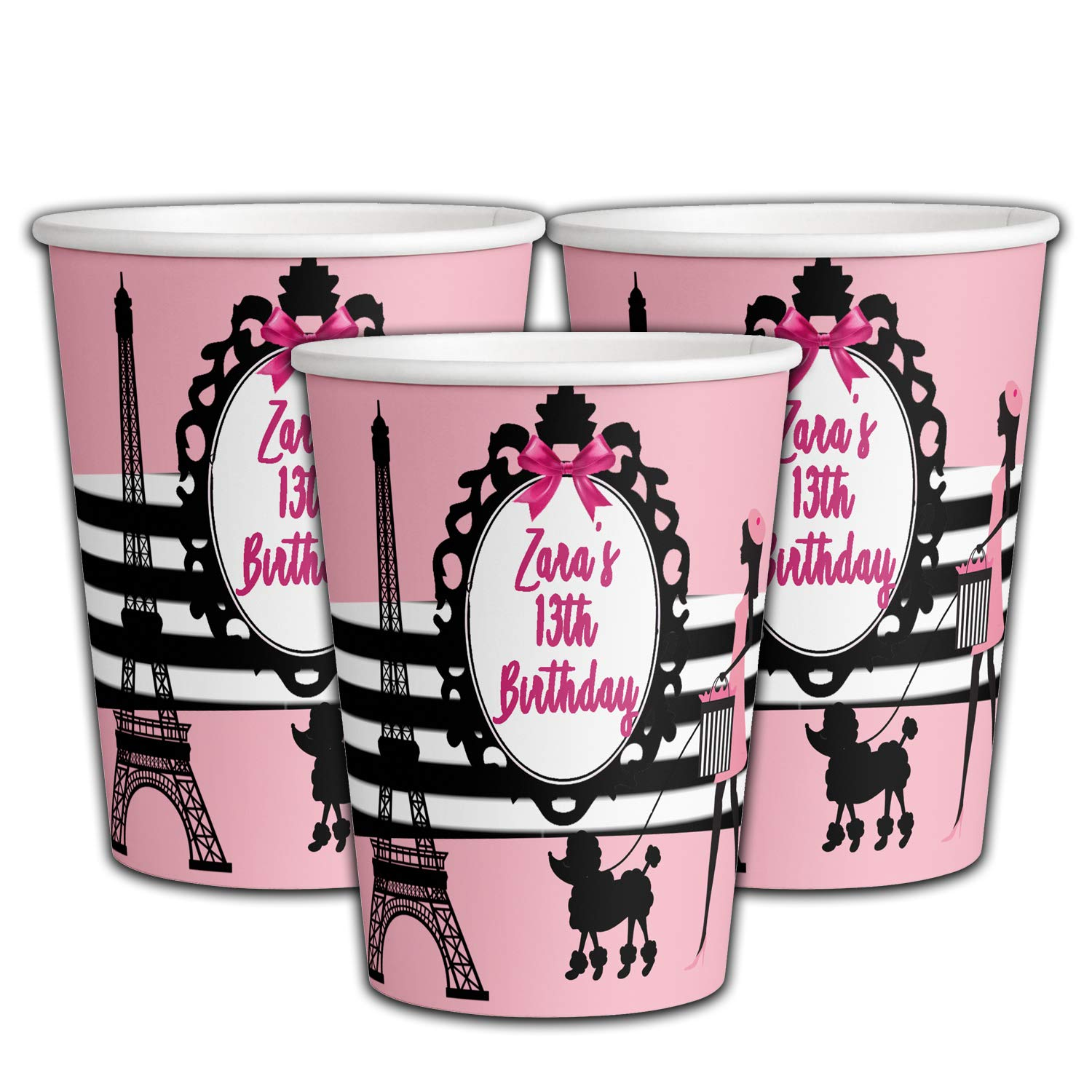 Amazon Com 12 Personalized Paris Birthday Party Paper Cups